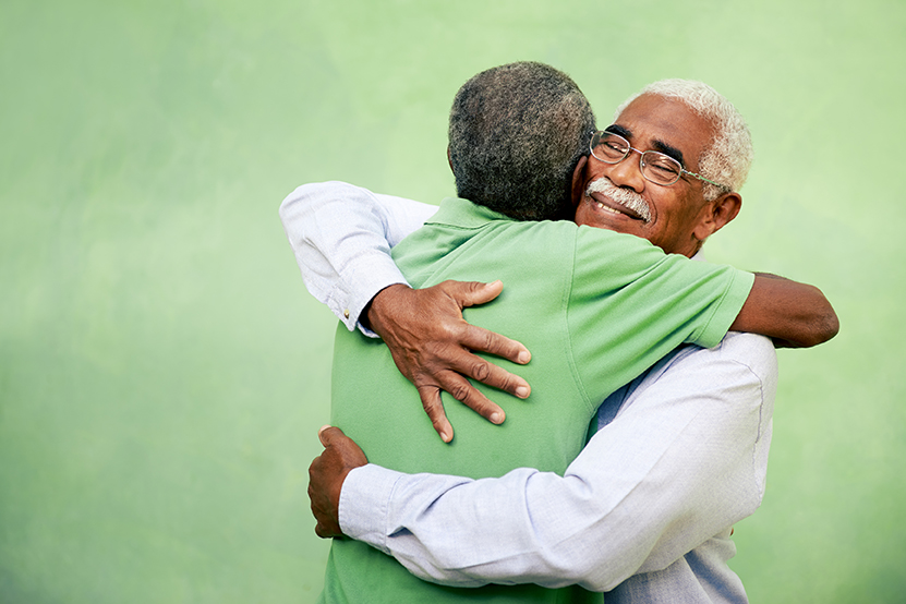 D older male hugging